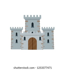 Knight's castle. Stone medieval fortress with a tower, wall and gate. Protection from enemies. Reliability and defense of the city. European fairytale attraction. Cartoon flat illustration.