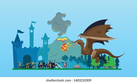 Knights Fighting Dragon With Volcano Background Concept Vector Illustration suitable for Wallpaper, Banner, Card, Web Landing Page, Book Illustration,
