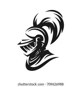Knight's helmet illustration in monochrome. Logo, emblem, symbol.