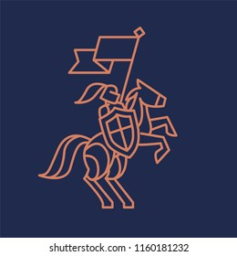 knight's logo on horse with flag on blue background