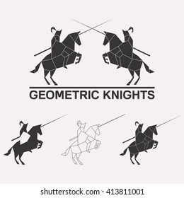 Knights logo set. Knights jousting geometric lines silhouette isolated on white background vintage vector design element illustration set