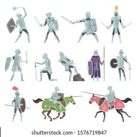 Knights. Medieval battle armor characters crusaders historical battle mascots vector cartoon