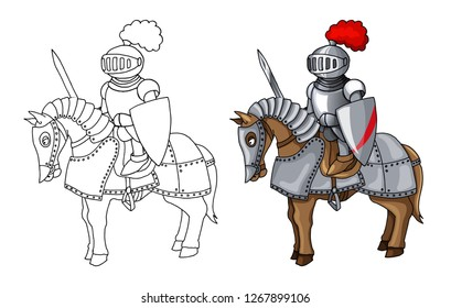 Knights Suit Body Protection Armor on War Horse with Sword and Shield cartoon illustration. Stiker child style design element. Coloring book page design for kids and children vector illustration
