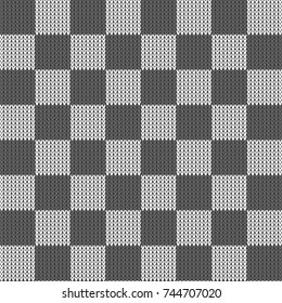 Knit Chess board vector. Jumper pattern vector. Jumper pattern background. Knitting pattern vector background seamless.