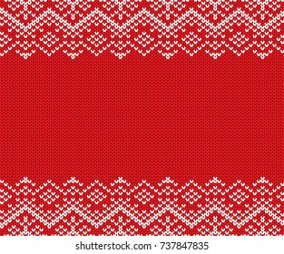 Knit christmas geometric ornament design with empty space for text. Xmas seamless pattern. Knitted winter red color sweater texture. Vector illustration.