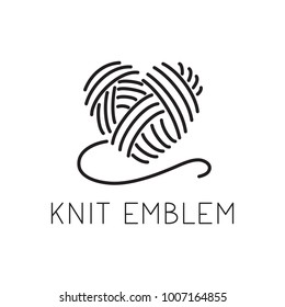 Knit / crochet emblem design. Line wool handmade shop logo. Yarn hand made logo for handmade masters. Simple black and white sign for watermarks on product photographs.