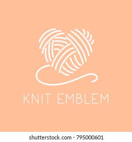 Knit emblem logo concept for knitting business. Thin line design for crochet hand made shop. Simple sign for handmade knit online store.
