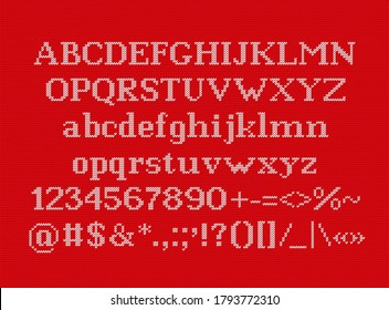 Knit font. Christmas typeface on seamless knitted pattern. Vector. Letters, numbers, signs and symbols on wool texture. Latin alphabet. Xmas background. Jumper ugly print. Retro red white illustration