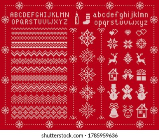 Knit font and xmas elements . Vector. Christmas seamless borders. Sweater pattern. Fairisle ornament with type, snowflake, deer, bell, tree, snowman, gift box. Knitted print. Red textured illustration