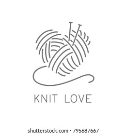 Knit logo concept, crochet yarn emblem for handmade business. Hand made knit shop sign. Simple minimalist knit / crochet design. Vector image illustration