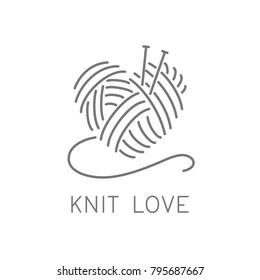 Knit logo concept, crochet yarn emblem for handmade business. Hand made knit shop sign. Simple minimalist knit / crochet design. Vector image illustration