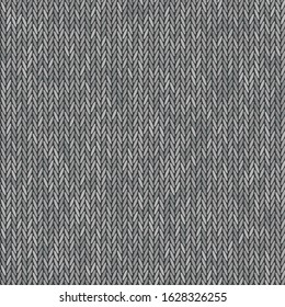 Knit texture melange gray color. Vector seamless pattern fabric. Knitting background flat design.