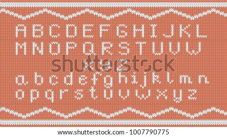 Knitted Alphabet Pattern Vector Knitted Alphabet Stock Vector