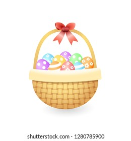 Knitted basket with colorful easter eggs - isolated on white vector illustration