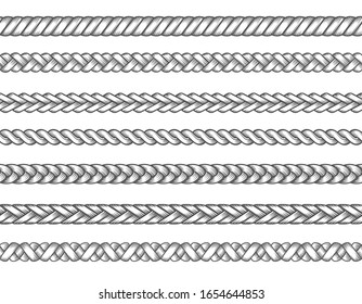 Knitted braids. Fashion textil braid set vector illustration, braids patterns, seamless braided thread lines, knitting ropes vector illustration