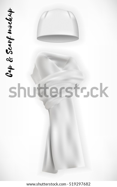 Knitted Cap Scarf Vector Mockup Set Stock Vector (Royalty Free