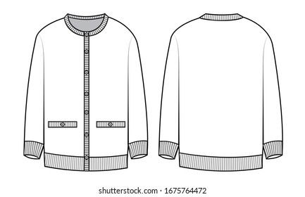 knitted cardigan fashion flat sketch template