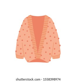 Knitted cardigan flat vector illustration. Cozy warm clothes isolated on white background. Stylish autumn and winter attire. Pink woolen outfit. Fashionable knitwear item with pompons.