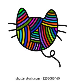 Knitted cat yarn wool hand drawn illustration for prints posters t shirts background knitting courses and master classes