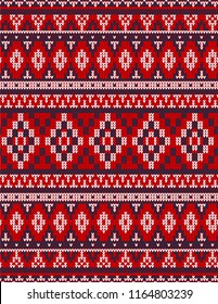 Knitted Chrismas rug tribal ornament seamless pattern. Ethnic aztec towel, yoga mat. Vector Henna tattoo style textile, greeting business card background, phone case print. Red, blue, white