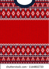 Knitted Chrismas tribal ornament ugly sweater pattern. Ethnic aztec jumper round collar. Vector scandinavian style textile, greeting business card poster background, phone case print. Red, blue, white