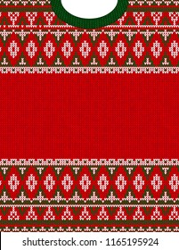 Knitted Chrismas tribal ornament ugly sweater pattern. Ethnic aztec jumper round collar. Vector scandinavian style textile, greeting business card poster background, phone case print Red, green, white