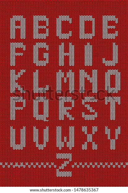 Knitted Christmas Alphabet Knitted Font Latin Stock Vector ...