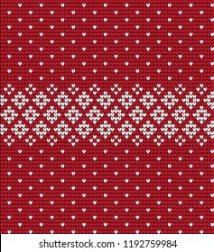 Knitted Christmas and New Year pattern Scandinavian style, illustration