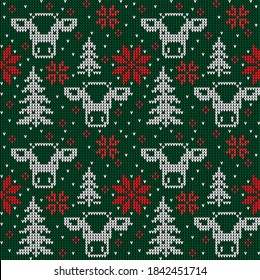 Knitted Christmas and New Year pattern in cow. Wool Knitting Sweater Design. Wallpaper wrapping paper textile print.