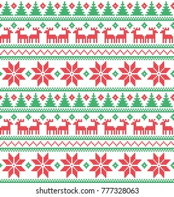 Knitted Christmas and New Year pattern for print