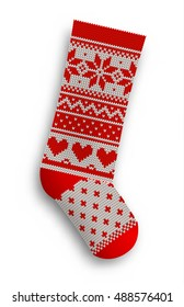 knitted christmas stocking with red patterns on white background, vector illustration, eps 10 with transparency and gradiennt meshes