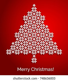 Knitted Christmas tree card Greeting card Merry Christmas Vector holiday background
