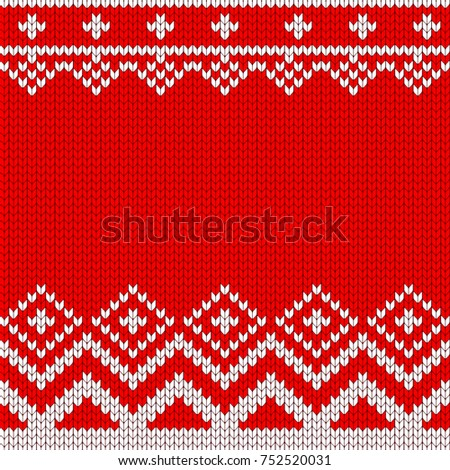 Knitted Christmas Knitted Vector Pattern Decoration Stock Vector
