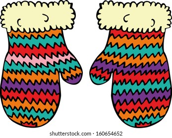 Knitted colorful mittens. Hand drawn illustration.