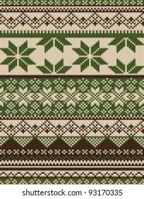 Knitted country background with snowflakes