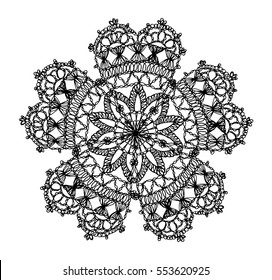 Knitted flower mandala, crochet doily, black and white knitted pattern in the style of boho chic, ethnic ornament to decorate clothing