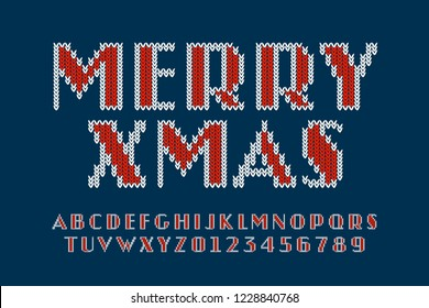 Knitted font, Christmas latin alphabet letters and numbers vector illustration