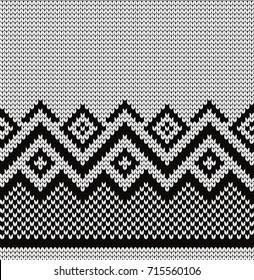 Knitted geometric seamless border