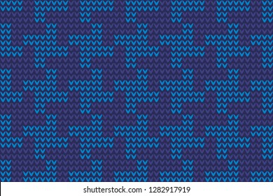 Knitted glen check pattern in turquoise, blue colours. Seamless vector design for fabric, textile, socks, scarfs, knitwear accessories. Exotic British jumper checkerboard motif