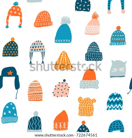 Knitted hats seamless pattern in vector. Christmas illustration