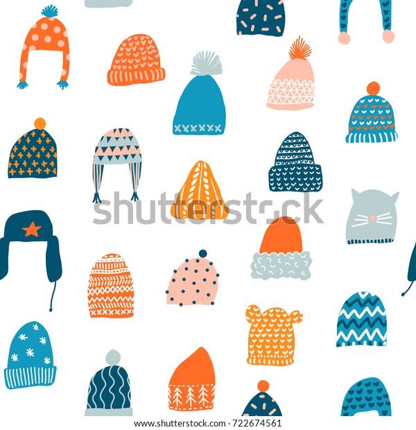 Вязаные шапки бесшовный рисунок в векторе. Рождественская иллюстрация