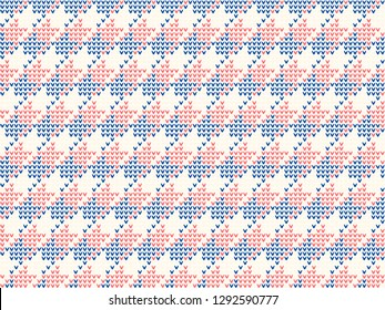 Knitted hound tooth pattern in red, blue colours. Allover vector design for fabric, textile, socks, scarfs, knitwear accessories. Exotic dogtooth Scandinavian jumper motif