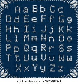 Knitted Latin Alphabet on Seamless Background. Vector Knitting Texture. Nordic Fair Isle Knitted Sweater Design