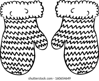 Knitted mittens. Hand drawn illustration.