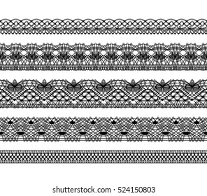 Knitted openwork lace mesh. Seamless vector pattern. Black