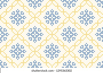Knitted ornamental geometric motif in blue, yellow colours. Retro folk knitting pattern for jumpers, hats, scarfs, knitwear accessories. Allover vector pattern for interior, apparel textile, fabric