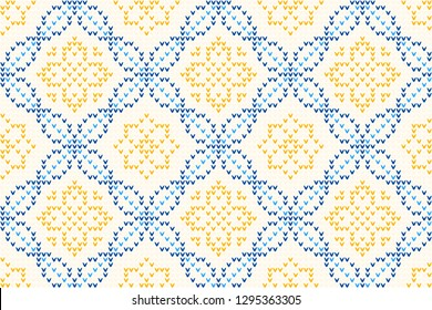 Knitted ornamental geometric motif in blue, yellow colours. Vintage folk knitting pattern for jumpers, hats, scarfs, knitwear accessories. Allover vector pattern for interior, apparel textile, fabric