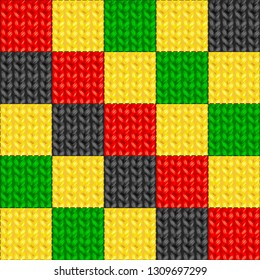 Knitted Patchwork Seamless Pattern of Rasta Colors. Vector Illustration.