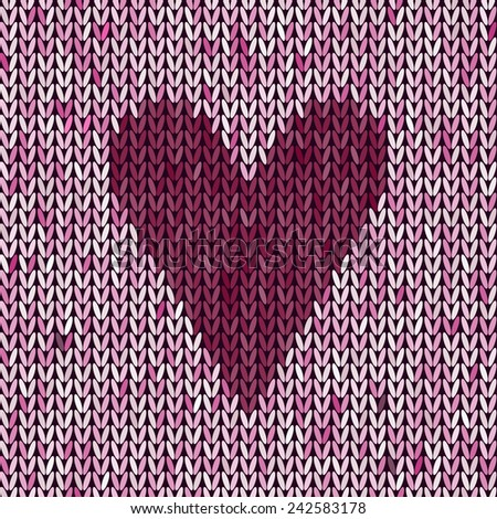 Knitted Pattern Heart Knit Texture Love Stock Vector Royalty Free