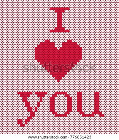 Knitted Pattern Red Heart Text I Stock Vector Royalty Free